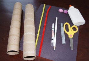 Cardboard tube Paper (optional) -Glue -Rubberband -Tape Scissors Pipe Cleaner Bead(s) Pencil