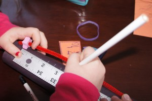 after measuring we added lines at 1/2 in. intervals.